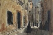 "Bernard Lamotte, ""Untitled- Street Scene II"",  watercolor and graphite,  8.25 x  7"",       $800.00"
