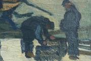 "Bernard Lamotte, ""Untitled, Two Fishermen"", oil on canvas on panel,   7.5 x 7"",     $750.00"