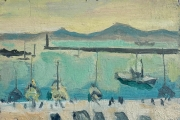 """Bernard Lamotte, """"Untitled - Sailboats In The Harbor"""", oil on canvas on panel, 10.75 x 7.5""""    $1050.00"""