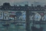 """Bernard Lamotte,""""Untitled -  Bridge and Harbor"""",oil on canvas on panel, 12.5 x 11"""",      $1600.00"""