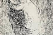 """Bernard Lamotte,  """"Woman Holding a Child"""",  etching,  matted unframed,  $350.00"""