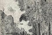 "Bernard Lamotte, ""Paris: Morning in The Bois"", etching, matted unframed, $350.00"