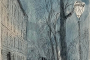 """Bernard Lamotte, """"The Boulevardier"""", hand colored etching, matted and framed, $800.00"""