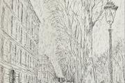"Bernard Lamotte, ""The Boulevardier"",  etching, matted unframed, $350.00"
