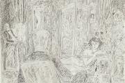 """Bernard Lamotte, """"Swann in Odette's Salon"""", etching, matted unframed, $350.00"""