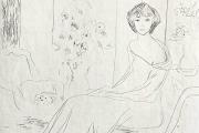 """Bernard Lamotte, """"The Bouquet"""", etching, matted unframed,  $350.00"""