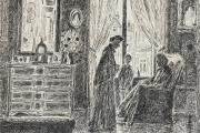 """Bernard Lamotte, """"The Women Gossip"""", etching, matted unframed, $350.00"""