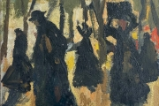 """Bernard Lamotte, """"Figures In The Woods"""", oil on  canvas on panel, 9.5 x 7.5""""         $1000.00"""