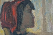 """Bernard Lamotte, """"Untitled-Woman With A Red Head Scarf"""", oil on canvas on panel,  6.5 x 6.75""""      $700.00"""