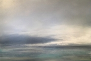 "Tom Martinelli,  ""Foggy Day"",  oil and cold wax on canvas, 38 x 38"",  $3400.00"
