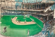 """William Skardon (1923-1983) """"Untitled-  Baseball Game (dated June 9,1968)"""" ink with watercolor,  48"""" x 36"""",  $7400.00"""