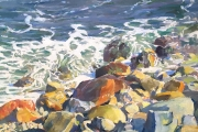 "Peter M Gish, ""Southeast Rocks and Surf"", oil on canvas,  24 x 30"", $7000.00"