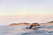 "Fred Poisson, ""Clayhead Dusk"", watercolor, 16 x 30"", $2400.00"