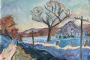 "Kate Knapp, ""East Road, Alford"",  oil on canvas,  18"" x 18"",  $1100.00 framed"