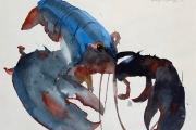 "Marilyn Bogdanffy, Blue Lobster, watercolor, 19 x 22"",  $750.00"