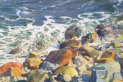 "Peter M Gish,  Southeast Rocks and Surf,  oil on canvas, 24 x 30"", $7,000.00"