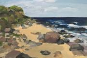 "Elizabeth Pannell, Mansion Beach, gouache, 17 x 21"", $1,200.00"